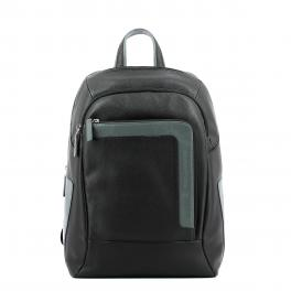 Laptop Backpack in leather 14.0-NERO/GRIGIO-UN