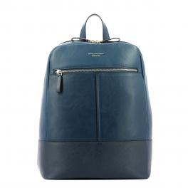 Organised Leather Backpack Archimede-BLU-UN
