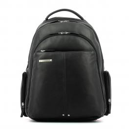 Leather Laptop Backpack Piquadro 15.0-NERO-UN